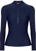 Tory Burch Macaw Printed Stretch-jersey Rash Guard - Midnight blue
