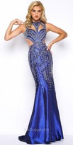 Mac Duggal Fitted Satin Embellished Cutout Prom Dress