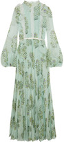 Giambattista Valli Ruffled Lace-trimmed Floral-print Silk-chiffon Gown - Green