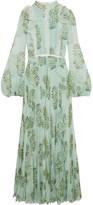 Giambattista Valli Ruffled Lace-trimmed Floral-print Silk-chiffon Gown - IT42