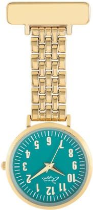 Bermuda Watch Company Annie Apple Emerald Green/Gold Link Bracelet Nurse Fob Watch