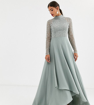 Asos Tall ASOS DESIGN Tall maxi dress with linear embellished bodice and wrap skirt