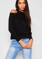 Missy Empire Franci Black Cold Shoulder Fine Knit High Neck Sweater