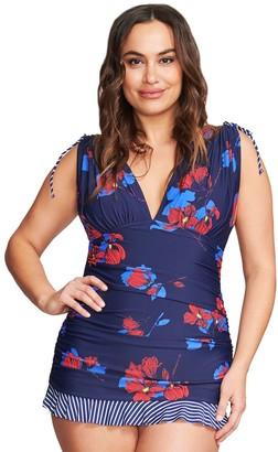 Women's Mazu Swim Plus Size Grecian Skater Swim Dress in Tossed Tulip by Mazu Swim