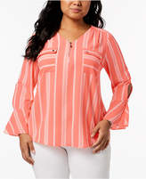 NY Collection Plus Size Striped Bell-Sleeve Utility Shirt