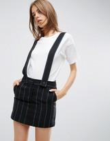 Asos Pinny Skirt In Pinstripe