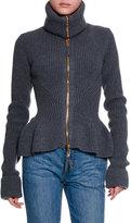 Alexander McQueen Ribbed Knit Wool Peplum Jacket, Dark Gray Melange