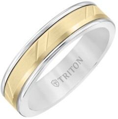 Triton 6MM White Tungsten Carbide Ring with 14K Yellow Gold- Diagonal Cut Insert