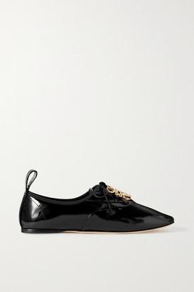 Loewe Logo-embellished Patent-leather Ballet Flats - Black