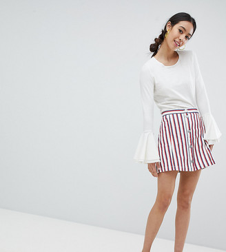 Monki stripe mini skirt in white