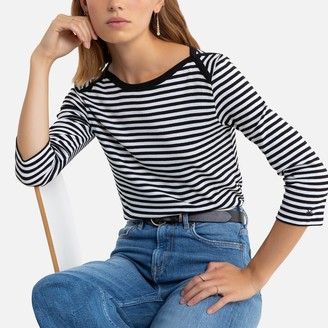 Benetton Striped Cotton T-Shirt with Long Sleeves