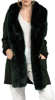 French Connection Faux Fur Accent Hooded Wool-Blend Cardigan