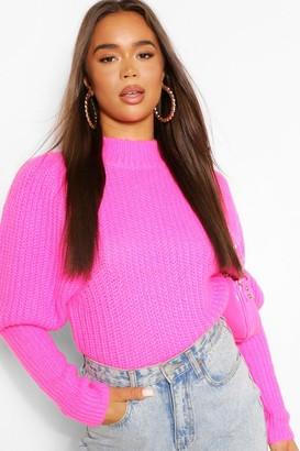 boohoo Black Textured Yarn Puff Sleeve Sweater