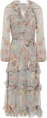 Zimmermann Unbridled Belted Tiered Floral-print Silk-georgette Midi Dress