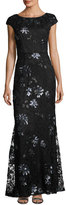 Vera Wang Sequin-Embroidered Lace Cap-Sleeve Gown, Black/Blue