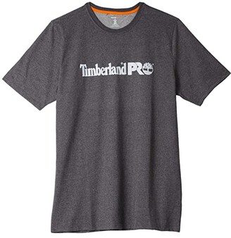 Timberland Base Plate Short Sleeve T-Shirt with Logo - Tall (Dark Charcoal Heather) Men's Clothing