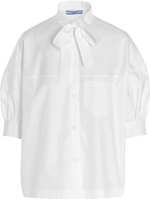 Prada Tie Neck Short Sleeve Shirt
