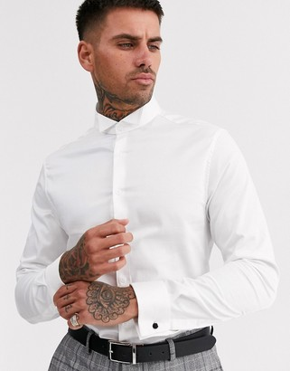 ASOS DESIGN skinny fit sateen shirt with wing collar in white