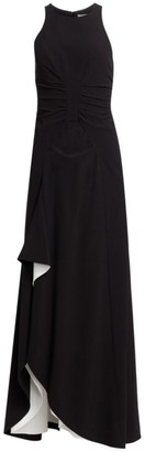 Halston Ruched Crepe Sleeveless Draped Gown
