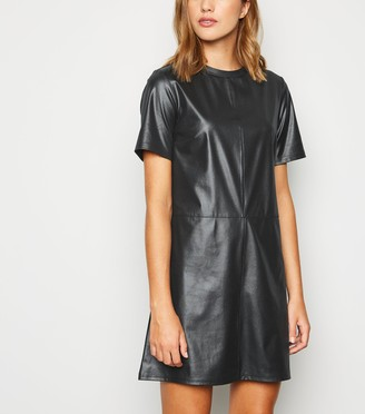 New Look Coated Leather-Look T-Shirt Dress