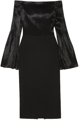 Roland Mouret Anina Off-the-shoulder Stretch-crepe And Silk-blend Lame Dress