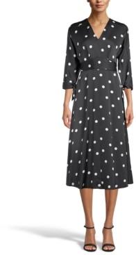 Anne Klein Polka-Dot Tie-Sleeve Midi Dress
