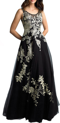 Basix II Floral Embroidered Sleeveless A-Line Gown