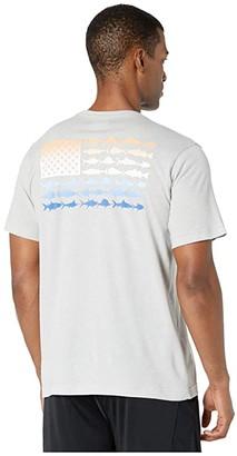 Columbia PFGtm Fish Flag Pocket Tee (Cool Grey/Vivid Blue Fade) Men's Clothing