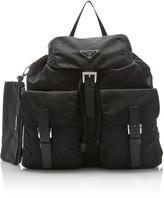 Prada Vela Medium Leather-Trimmed Shell Backpack