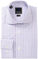 David Donahue Patterned Trim Fit Dress Shirt