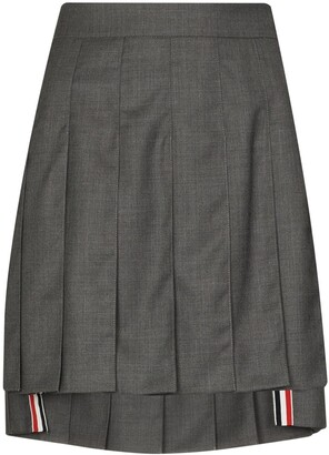 Thom Browne Dropped Back Mini Pleated Skirt In Super 120s Twill