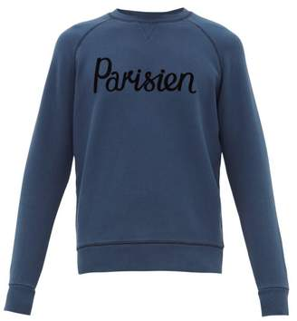 MAISON KITSUNÉ Parisien Flocked Cotton Jersey Sweatshirt - Mens - Mid Blue