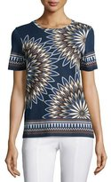 Tory Burch Libby Deco-Fan Graphic Tee, Royal Navy Eden