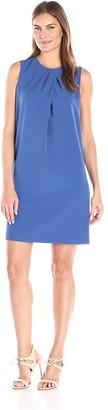 Anne Klein Women's Crepe Pleast Neck Shift Dress