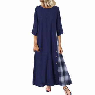 KPILP Womens Vintage Cotton Linen Dress Plus Size Ethnic Maxi Dresses Summer Long Gown Kaftans Plain Long Sleeve Top Boho Beach Long Sleeve Autumn Fall Sundress(Navy )