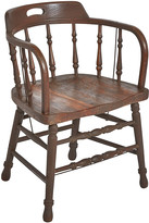 Rejuvenation Weathered Oak Low-Back Windsor Tavern Chair