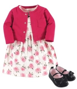 Little Treasure Baby Girls Rose Cardigan, Dress and Shoe Set, Pack of 3