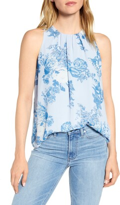 Vince Camuto Cabbage Rose Toile Sleeveless Chiffon Blouse