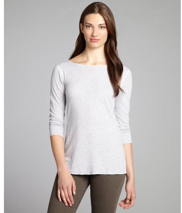 Hayden grey and white cotton blend stripe top