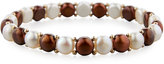 Belpearl 14k Multicolor Freshwater Button Pearl Stretch Bracelet, Chocolate Mix
