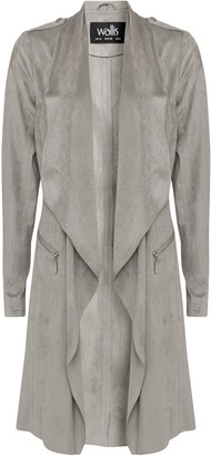 Wallis Grey Faux Suede Waterfall Jacket