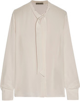 Bottega Veneta Pussy-bow Silk Crepe De Chine Blouse - Cream