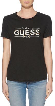 GUESS Short Sleeve Beaded Logo Tee