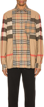 Burberry Tisdale Long Sleeve Shirt in Archive Beige IP Check | FWRD