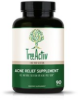 TreeActiv Acne Relief Supplement | Natural Oral Herbal Clinically Proven Treatment System - Clear Face Medication - Skin Care for Men, Women, Adults, Teens (90 Pills / 30 Day Supply)