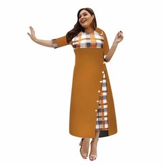 Oksea Women Oversized Casual Dress Irregular Plaid Print Button Splicing Maxi Dress Half Sleeve Party Dresses Yellow