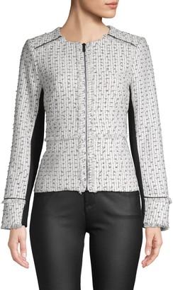 Karl Lagerfeld Paris Full-Zip Tweed Jacket
