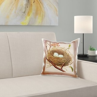 N. East Urban Home Birds Eggs Nest On Rosey Background Pillow Cover East Urban Home