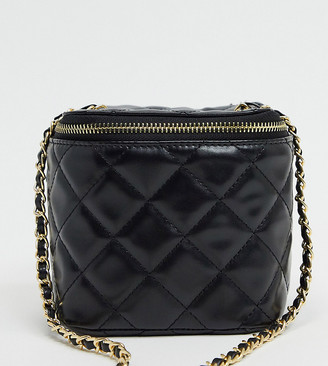 Glamorous Exclusive quilted boxy cross body bag with chain handle in black