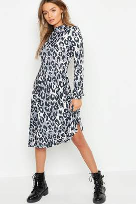 boohoo High Neck Leopard Print Midi Dress